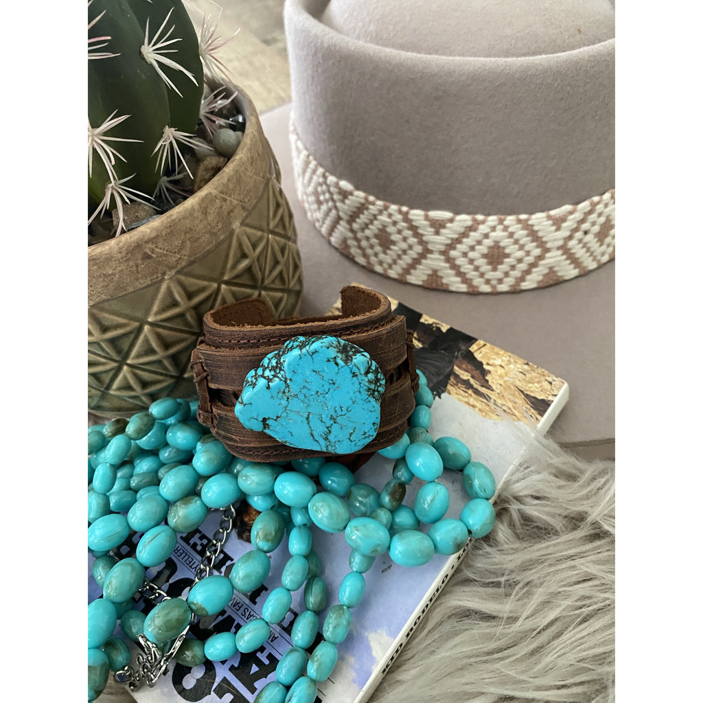 Turquoise Is My Rock  Leather Cuff