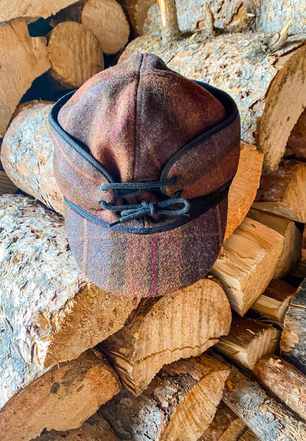 Tan Plaid Railroad Cap (ear flap)