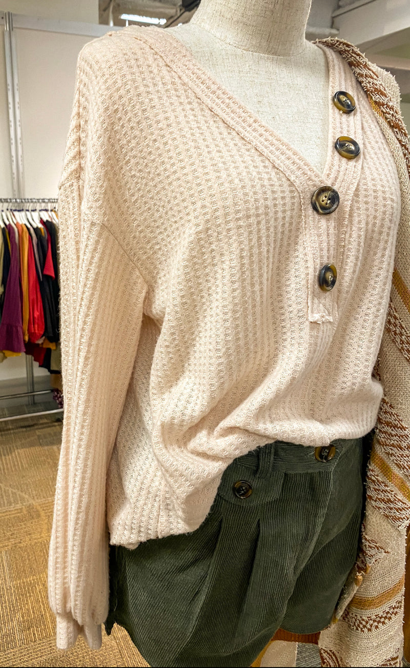Side Button - Waffle Knit Top (cream)