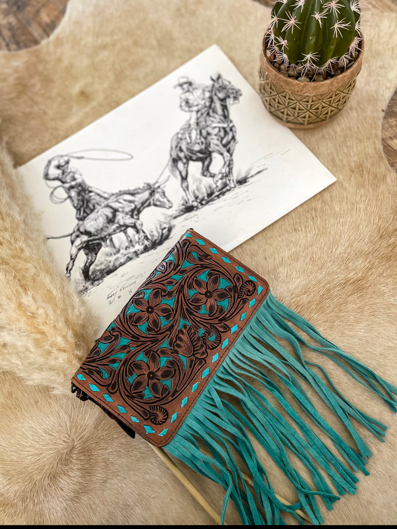 Turquoise Tooled Leather Clutch