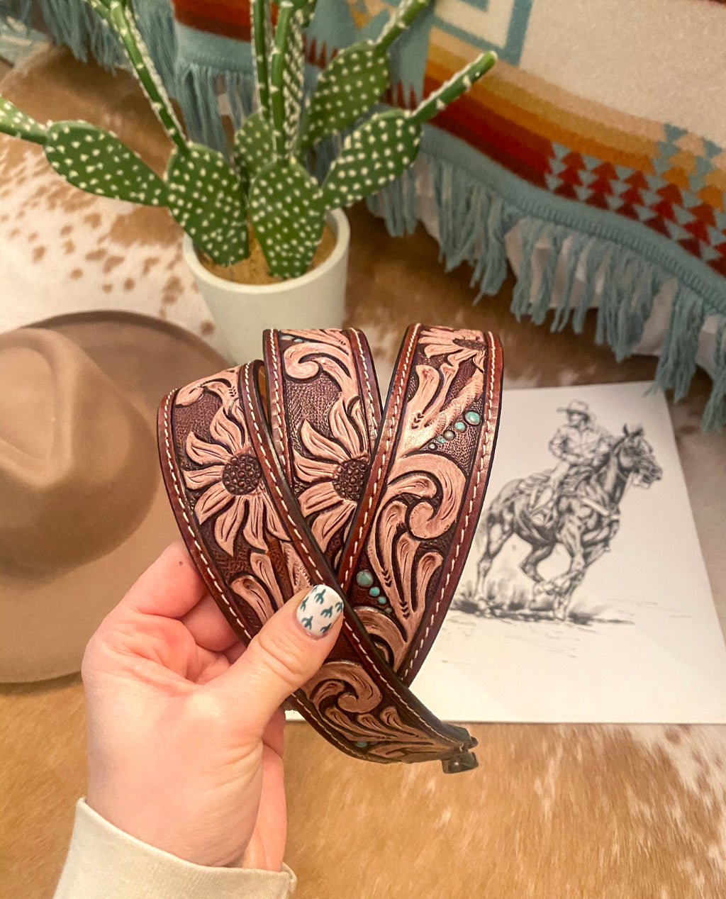 Daisy Duke Tooled Leather Purse Strap