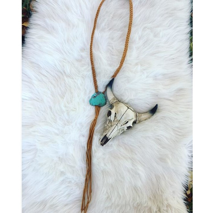 Suede Turquoise Stone Bolo