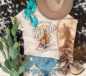 Long Live Western Woman Distressed Tee (taupe)