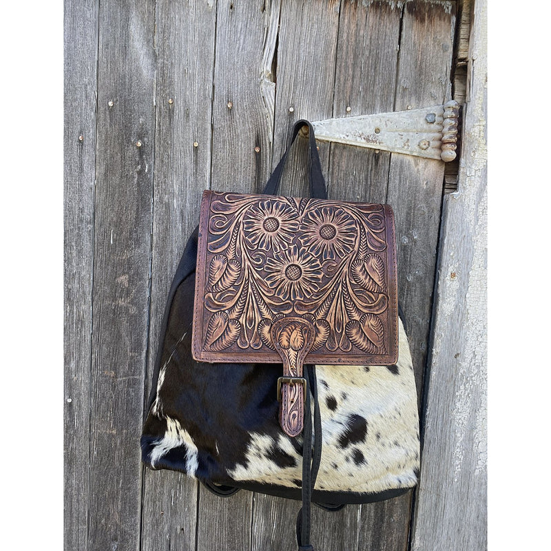 Yeehaw Tooled Leather Top Backpack