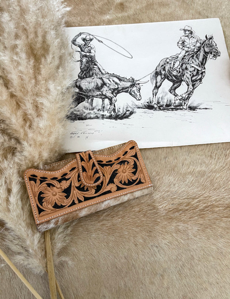 Tooled Leather and Cowhide Wallet