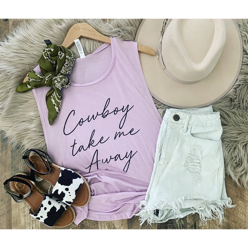 Cowboy Take Me Away Muscle Tank (lilac)