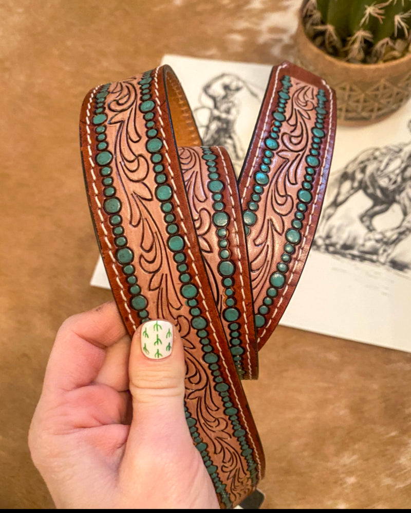 Turquoise Dream Tooled Leather Purse Strap