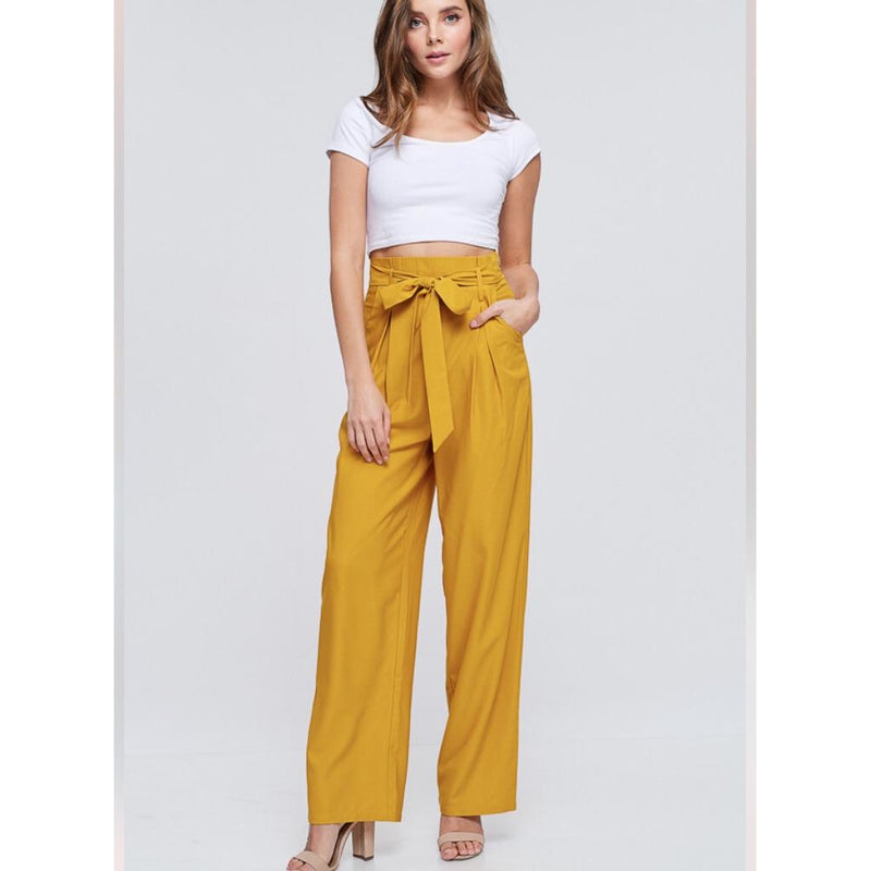 Mustard t High Waist Trouser Pants