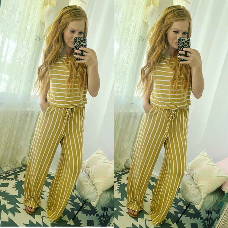 Spirit Animal Striped Jumpsuit (mustard)