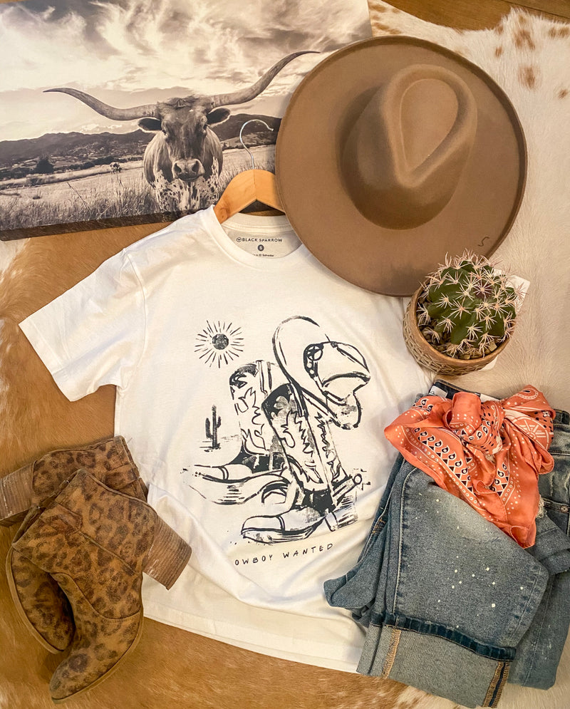 Cowboy Wanted Boots Tee (white)