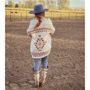Plush Aztec Rider Cardigan ((cream))
