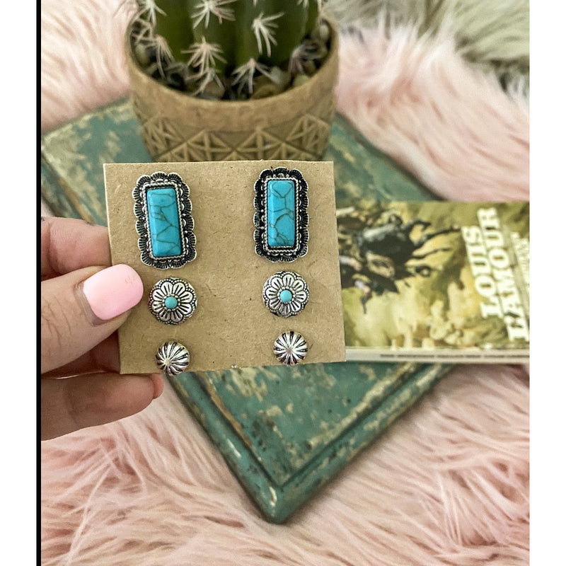 Square Dancin Turquoise Studs (set of 3)