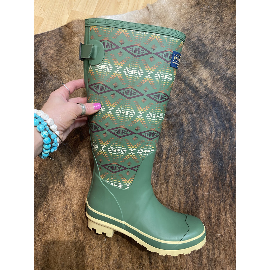 Tall y'all Southwest Pendleton Rain boots (Diamond River)