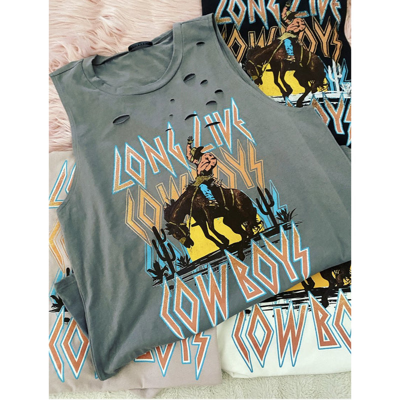 Long Live Cowboy Distressed Tank (grey)