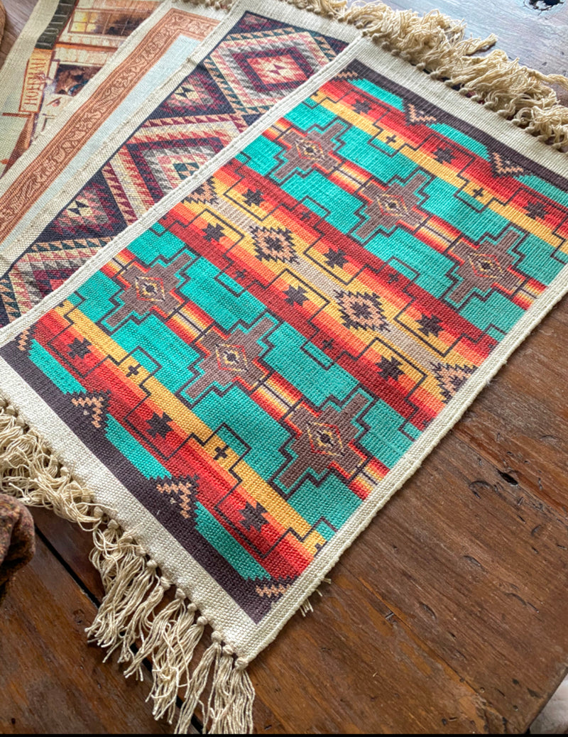 Digitally Printed Geometric Place Mat (blue tones)