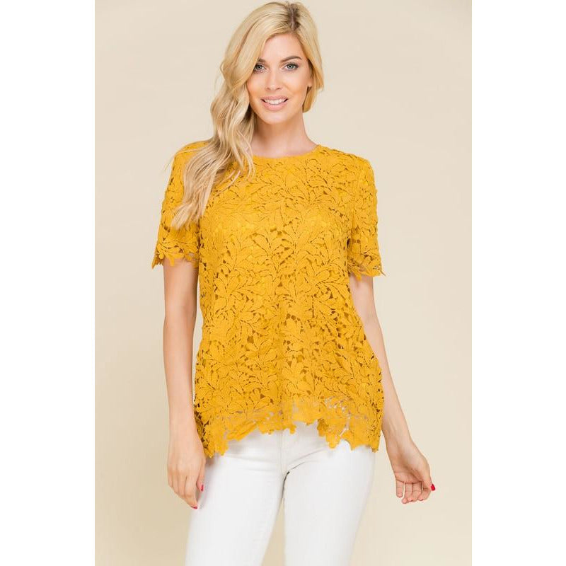 Crochet Lace Top ((Mustard))