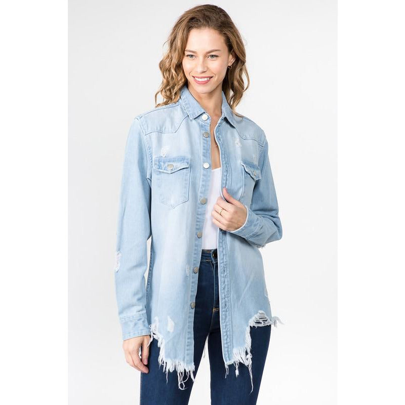Denim Darlin Mama Tried Distressed Jacket (light blonde)