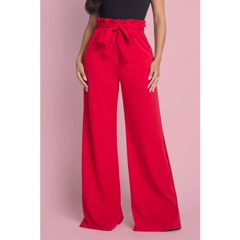 Red High Waist Trouser Pants