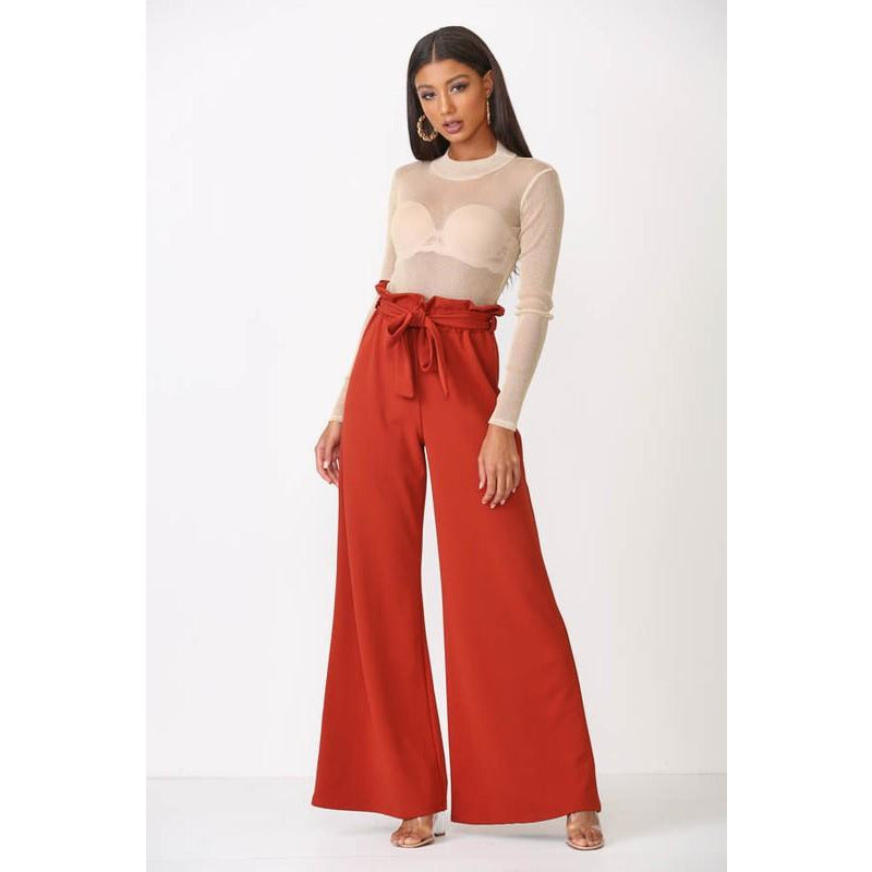 Rust High Waist Trouser Pants