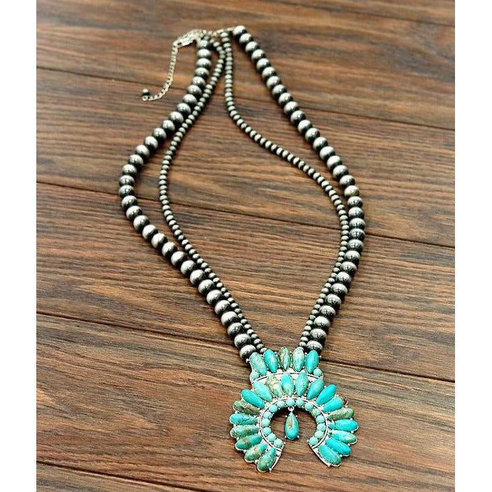 Turquoise Squash Bloosm Necklace