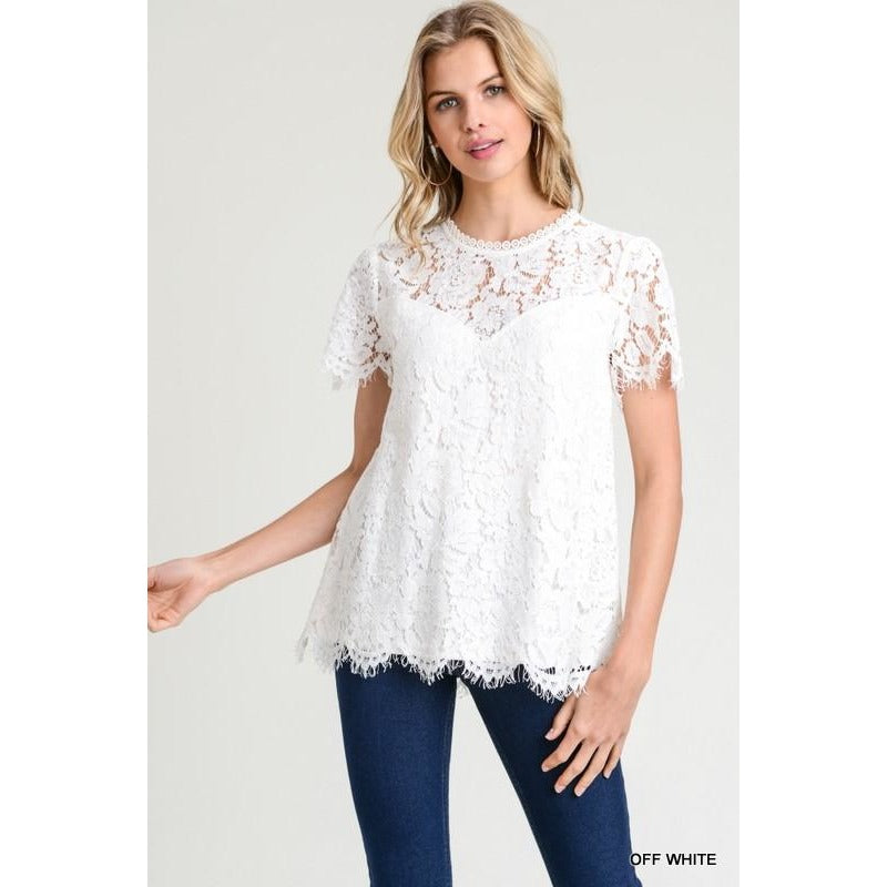 Crochet Lace Top (( white))