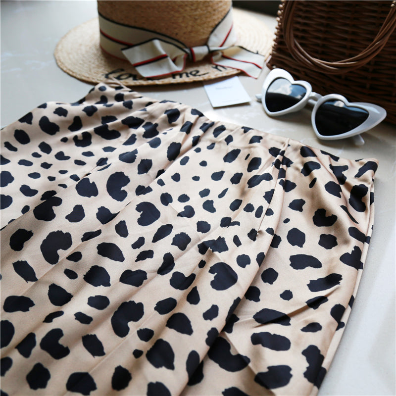 High Waist Midi Leopard Skirt