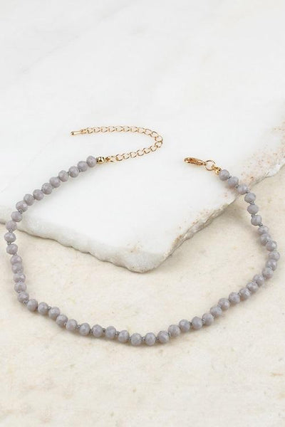 Grey Crystal Bead Choker
