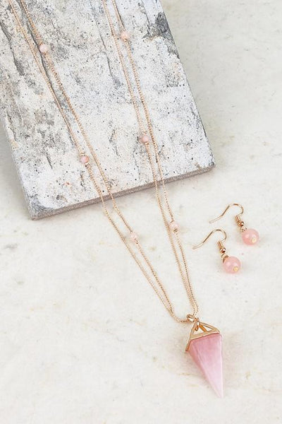 Pink Triangle Pendant Necklace