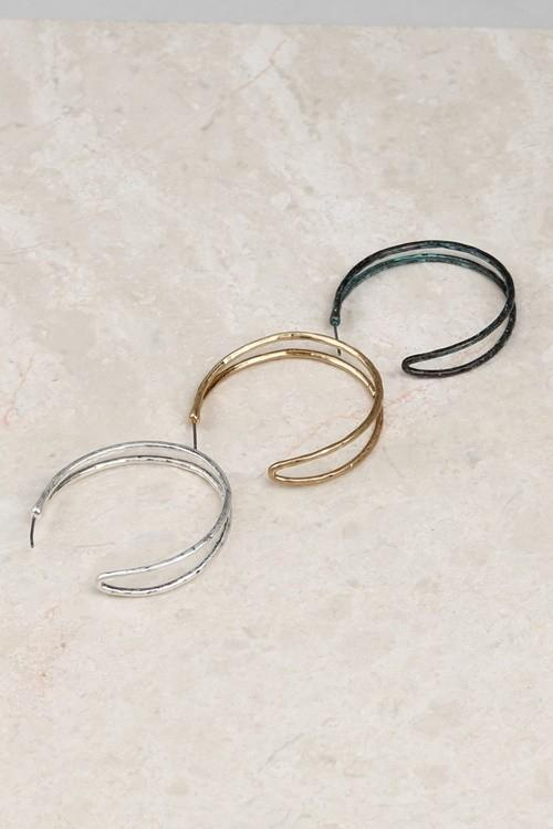 Rustic Metallic Hoop Earrings