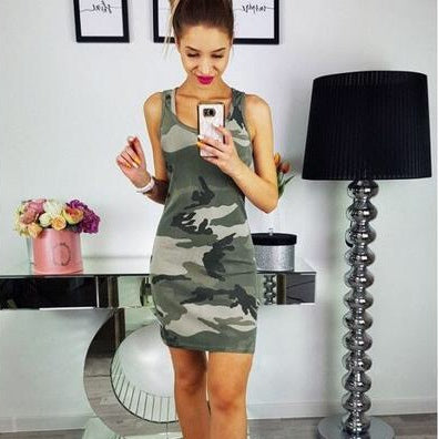 Sleeveless Camo Mini Dress