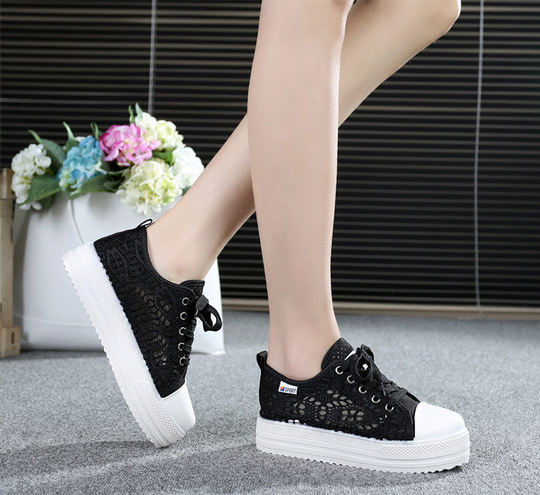 Casual Cutouts Lace Canvas Shoes