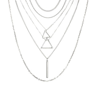 Bohemian Triangle Bar Stick Pendant Necklace
