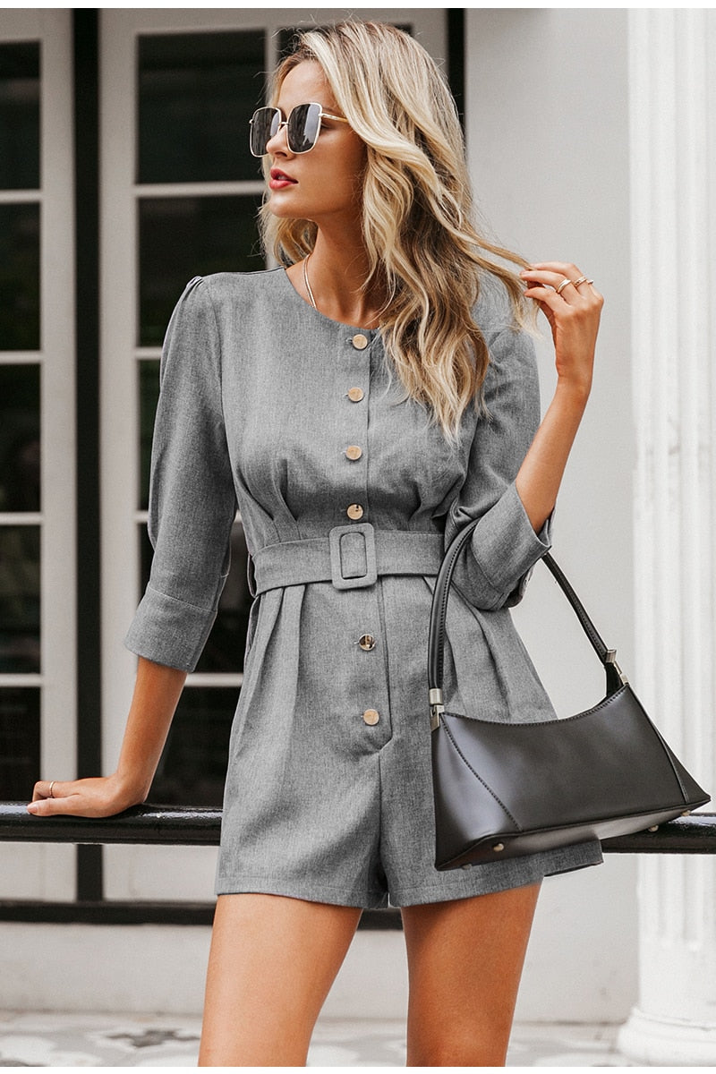 Grey Button Down Blazer Romper