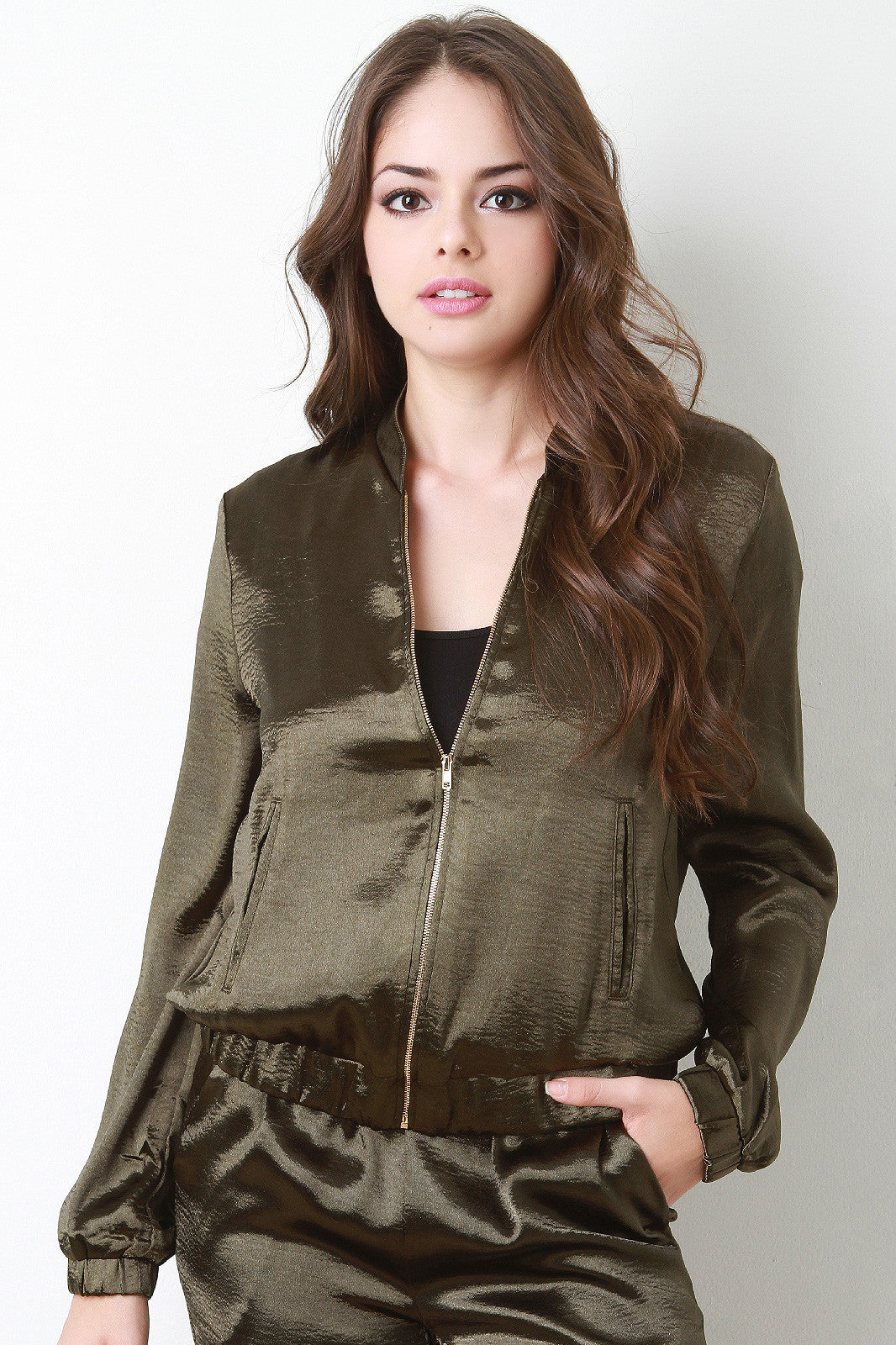Sheeny Satin Bomber Jacket
