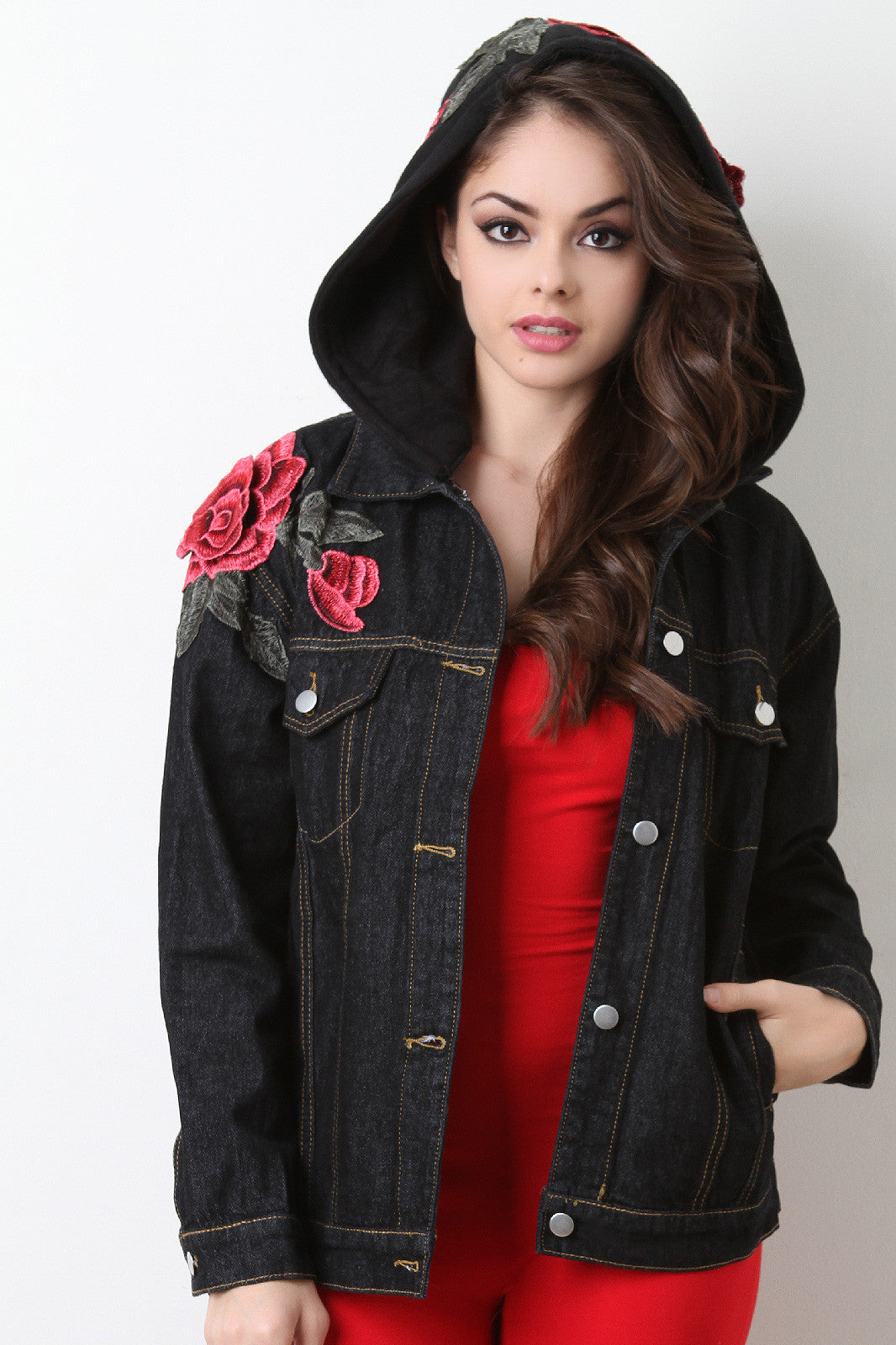 Rose Embroidery Hooded Denim Jacket