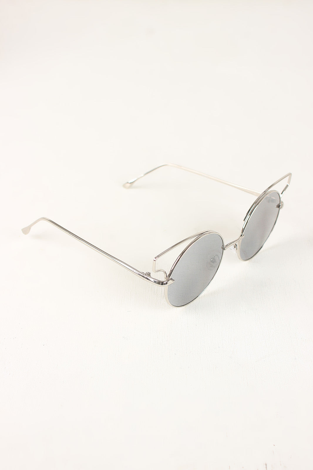 Open Wire Frame Round Cat Eye Mirrored Sunglasses