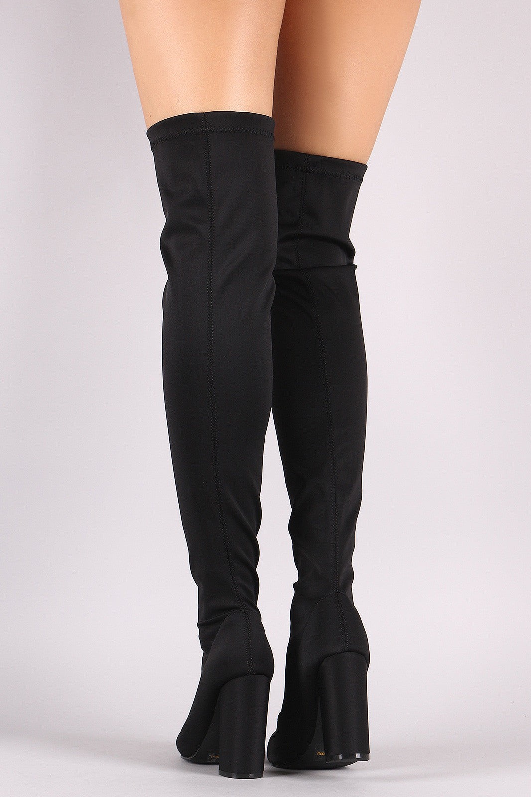 Elastane Pointy Toe Chunky Heeled Over-The-Knee Boots