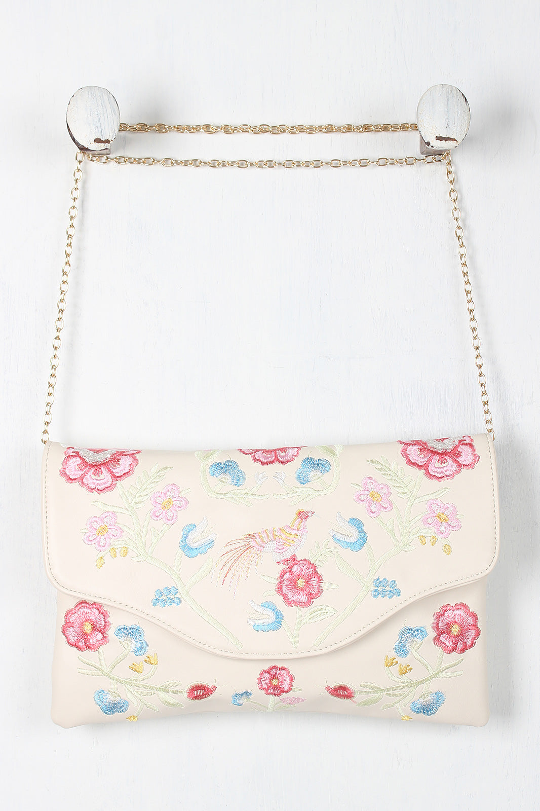 Embroidered Floral Bird Clutch Bag