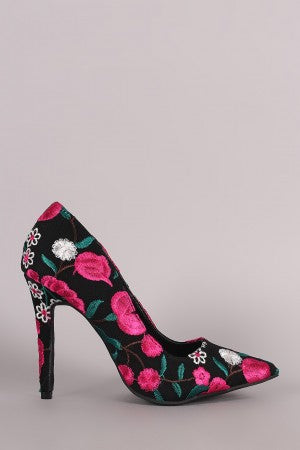 Qupid Embroidered Floral Pointy Toe Stiletto Pump