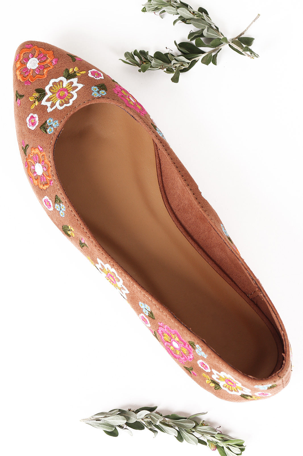 Bamboo Suede Floral Embroidery Pointy Toe Flat
