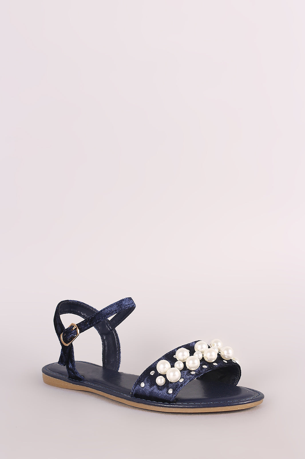 Bamboo Velvet Faux Pearl Accent Ankle Strap Flat Sandal