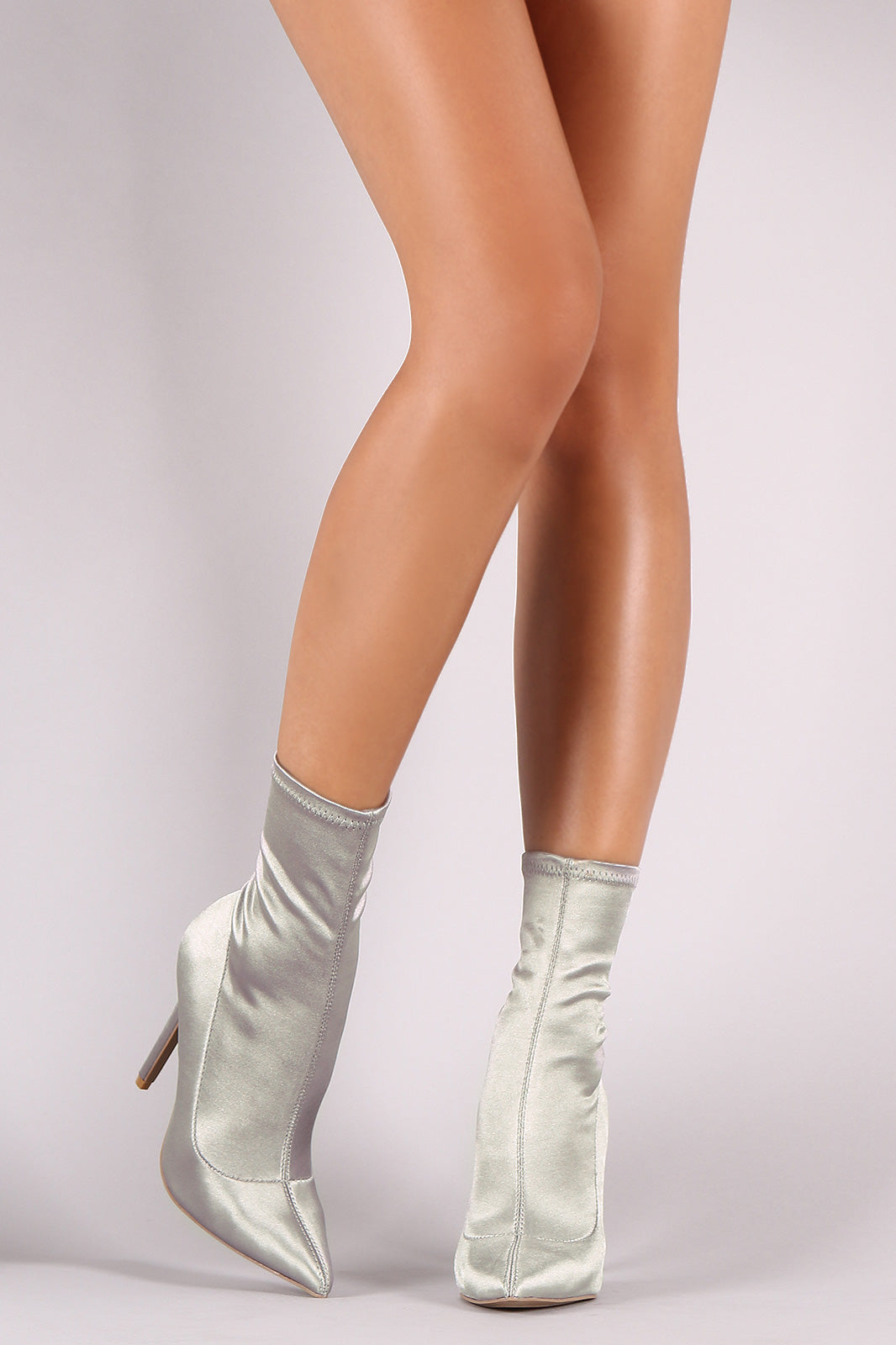 Qupid Elastane Pointy Toe Stiletto Sock Booties