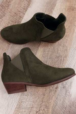 Perforated Suede Almond Toe Elastic Gore Ankle Boots