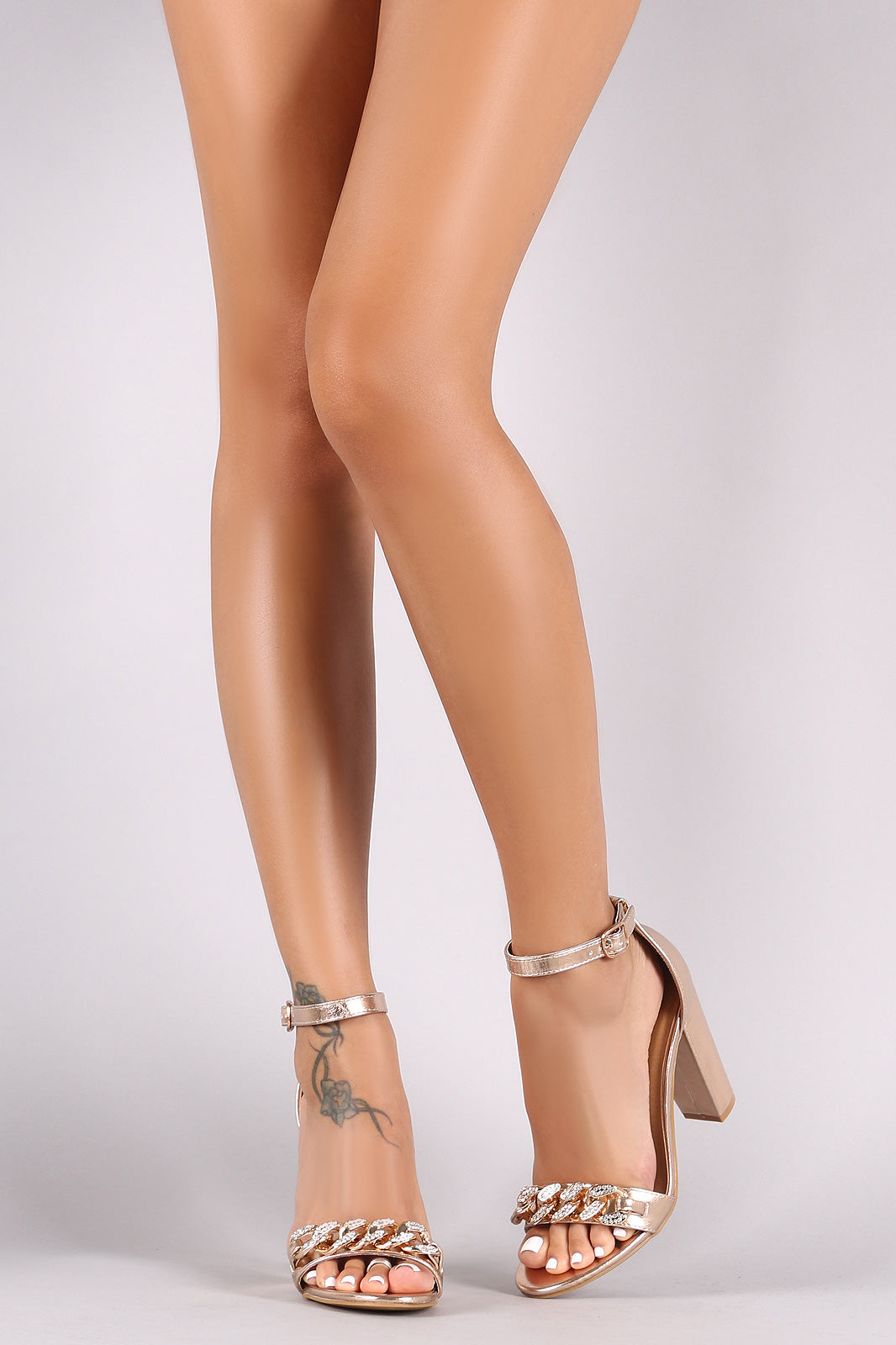 Bamboo Metallic Chain Embellished Ankle Strap Chunky Heel