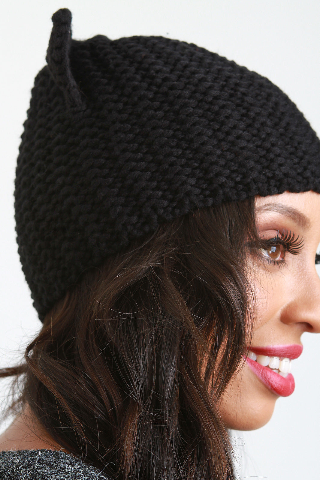 Garter Stitch Knit Cat Ears Beanie