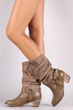 Suede Western Slouchy Round Toe Chunky Mid Calf Boots