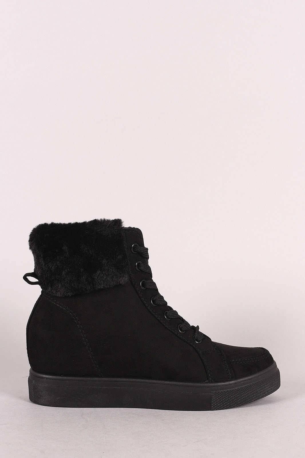 Bamboo Suede Fur Cuff Lace-Up High Top Wedge Sneaker