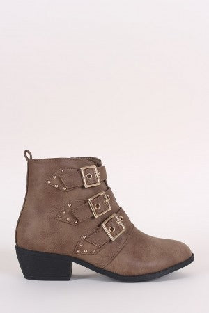 Almond Toe Stud Buckled Moto Ankle Booties