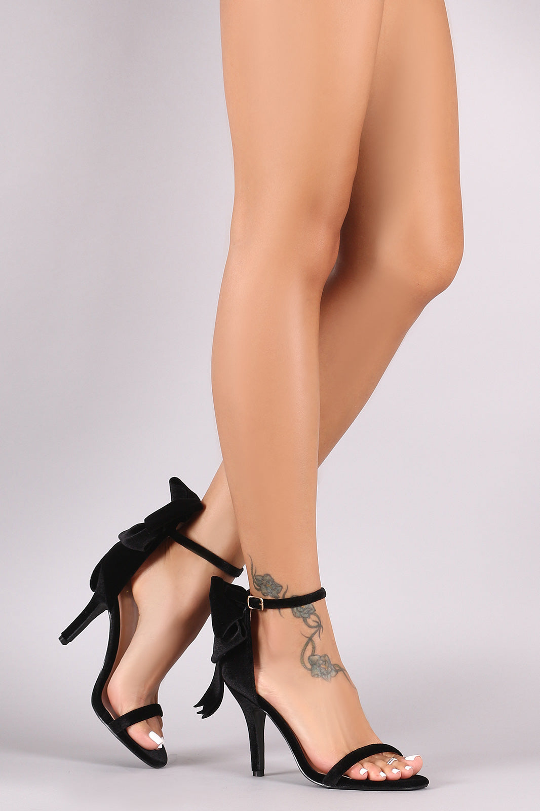Velvet Bow Accent Ankle Strap Stiletto Heel
