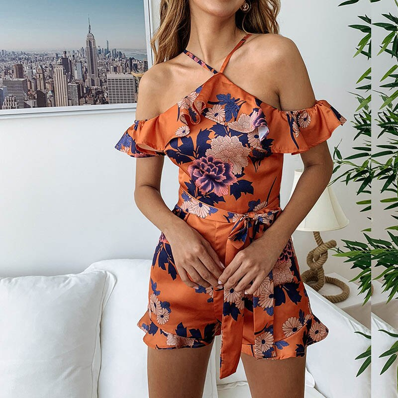 Sexy off Shoulder Halter Romper